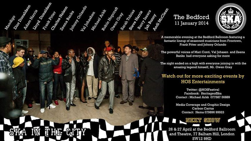 At The Bedford  THE LEGENDS OF SKA and MARI . A Big thank you to you all for your kind Support. Please stay tuned for new up dater.
